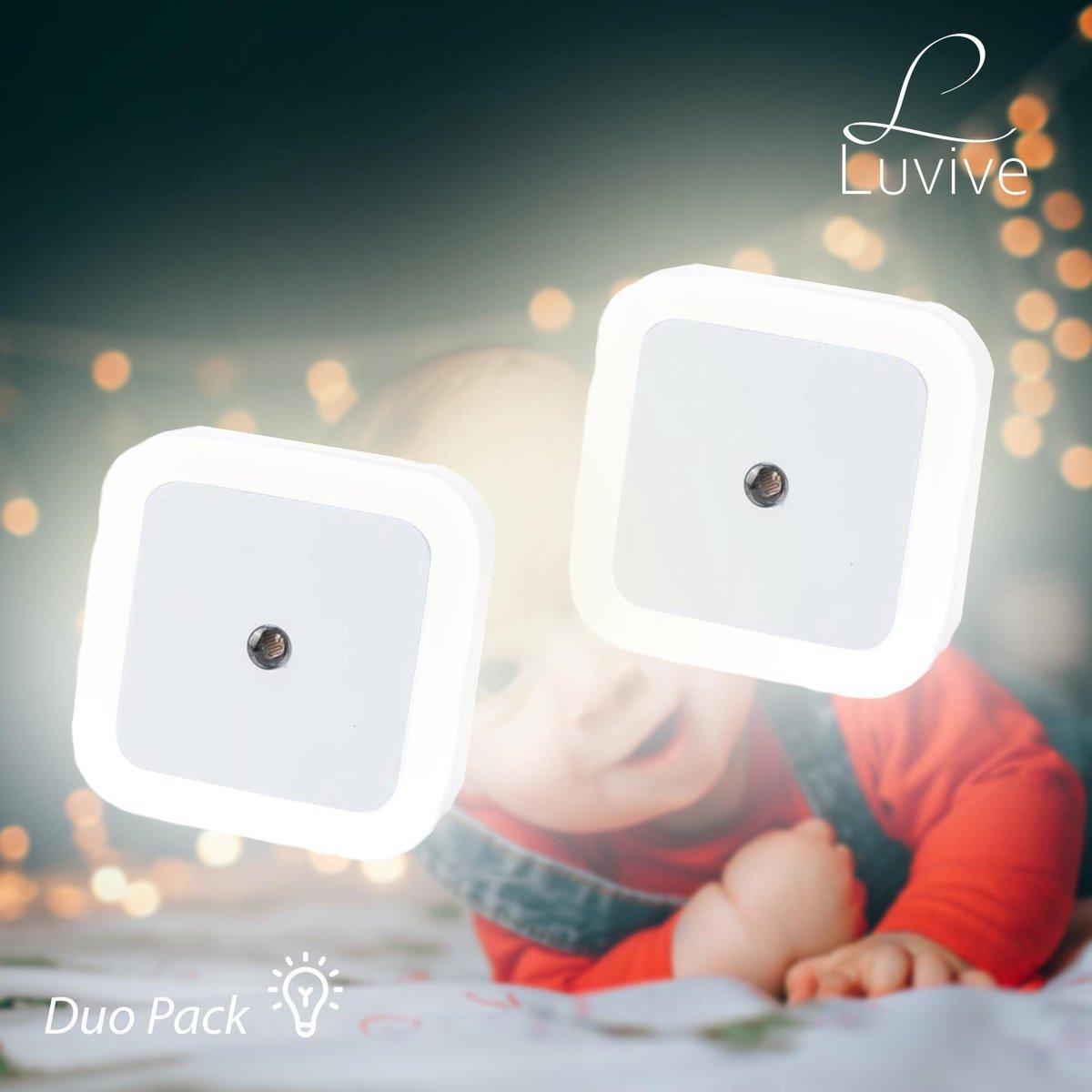 2 stuks Luvive LED Nachtlampje Stopcontact - Inclusief beveiliging - Kinderen & Baby - Babykamer - Nachtlampje - Dag en Nacht Sensor - kinderkamer - Nachtlampje Babykamer - Verlichting - Warm Wit