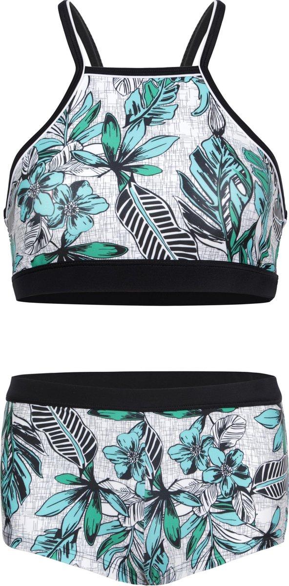 Bikini hipster broekje en crop top met racerback - Jungle bloemen 152-158