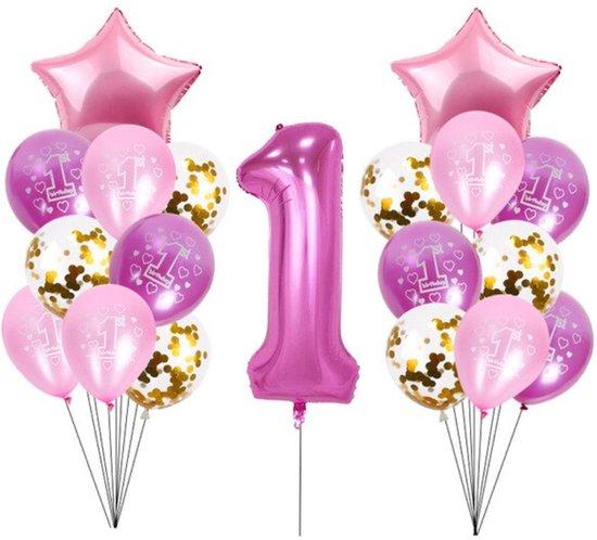 Ballonnen Eerste Verjaardag - 1 jaar - roze - 1 meter