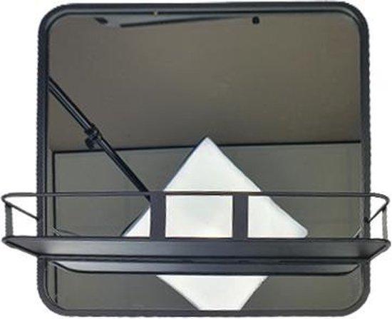 Spiegel industrieel JURGEN met plankje / bakje - Zwart - 40 x 40 cm - Wandspiegel - Halspiegel - Hangspiegel