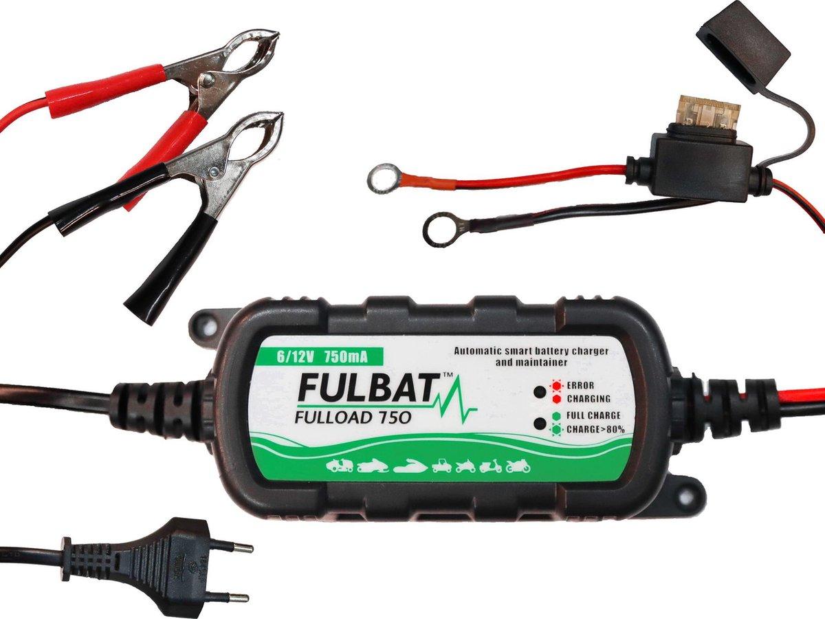Druppellader voor auto motor camper scooter boot - Fulbat Fulload 750 - 12 volt en 6 volt - Acculade