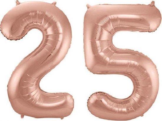 Folie ballon cijfer 25 jaar – 80 cm hoog – Rosé Goud - met gratis rietje – Feestversiering – Verjaardag – Bruiloft