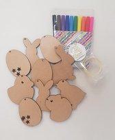 Pasen - Kleursetje - 10 Hangers - Paasboom - Paastakken - zelf inkleuren - kinderen - knutselen Pasen - knutselsetje - knutsel pakketje