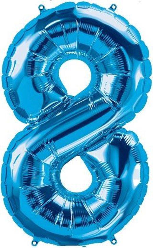 Helium ballon - Cijfer ballon - Nummer 8 - 8 jaar - Verjaardag - Blauw - Blauwe  ballon - 80cm