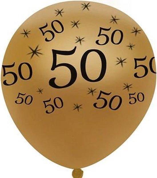 JDBOS ® 10 ballonnen (goud) met zwarte opdruk verjaardag 50 jaar