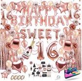 Fissaly® Sweet 16 Jaar Rose Goud Verjaardag Decoratie Versiering - Helium, Latex & Papieren Confetti Ballonnen