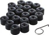 Wielmoerkapjes 17mm - Set van 20 stuks - Mat-zwart - Moer Cover Auto