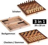 3 in 1 Schaakset, Checkersbord en Backgammon – Schaakspel inclusief schaakstukken en stenen - Opklapbaar Schaakbord - Schaken - Dammen - 39 x 39 cm