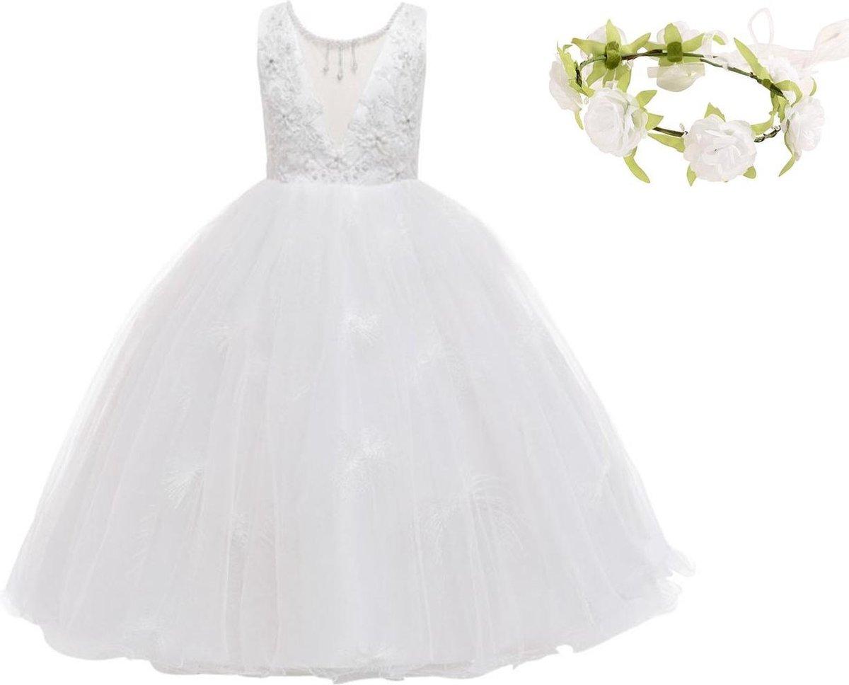 Communie jurk Bruidsmeisjes jurk wit Classic Deluxe 146-152 (150) prinsessen jurk feestjurk + bloeme