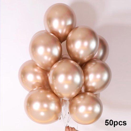 Luxe Ballonnen set - 50 stuks - Chrome Metal look - Latex - Feestdecoratie - Verjaardag - Party Balloons - Feestje  - Champagne Gold