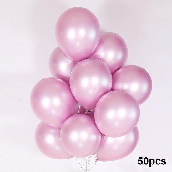 Luxe Ballonnen set - 50 stuks - Chrome Metal look - Latex - Feestdecoratie - Verjaardag - Party Balloons - Feestje  - Roze