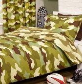 1-persoons jongens dekbedovertrek legerkleuren camouflage groen (zwart / beige)