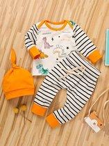 Baby Kleding 3-Delige Set - Oranje - Dinosaurus - Baby Kleertjes - Dieren - Baby Kleding Jongens - Baby Kleding Meisje - Baby Pakje - Unisex