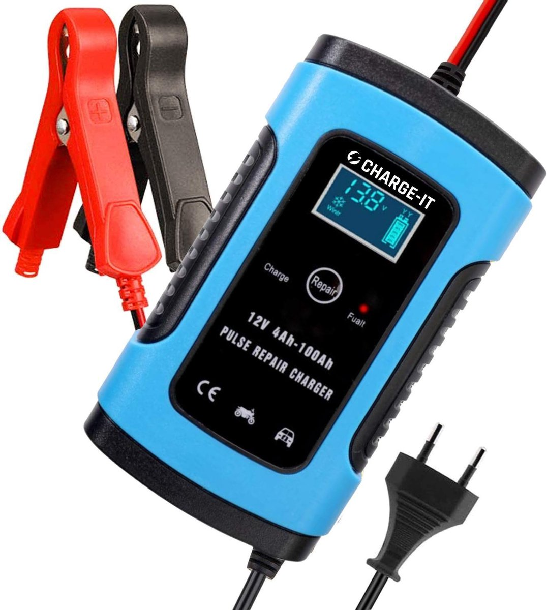 CHARGE-IT Acculader - Druppellader - Acculader voor Auto Motor Scooter Boot Camper - Reparatie Modus