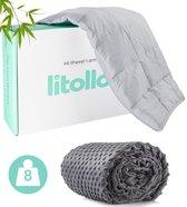 Luna Verzwaringsdeken met zijde zachte fleece buitenhoes - Ventilerend Bamboe materiaal - Weighted Blanket - Grijs - 150x200cm - 8kg