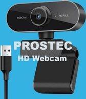 Prostec Full HD Webcam - 1080p - Microfoon - USB - Zwart -Webcam voor PC & Laptop - USB - Eenvoudige installatie - Autofocus - Webcamera - 360° Draaibaar - Vergaderen - Werk & Thuis - School - Windows & Mac