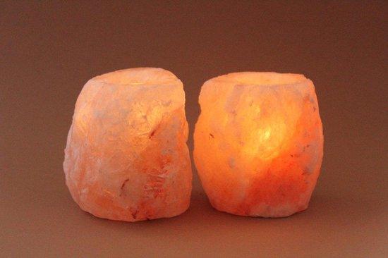 Himalaya Zoutsteen theelicht Zoutlamp - waxinehouder (2 stuks)
