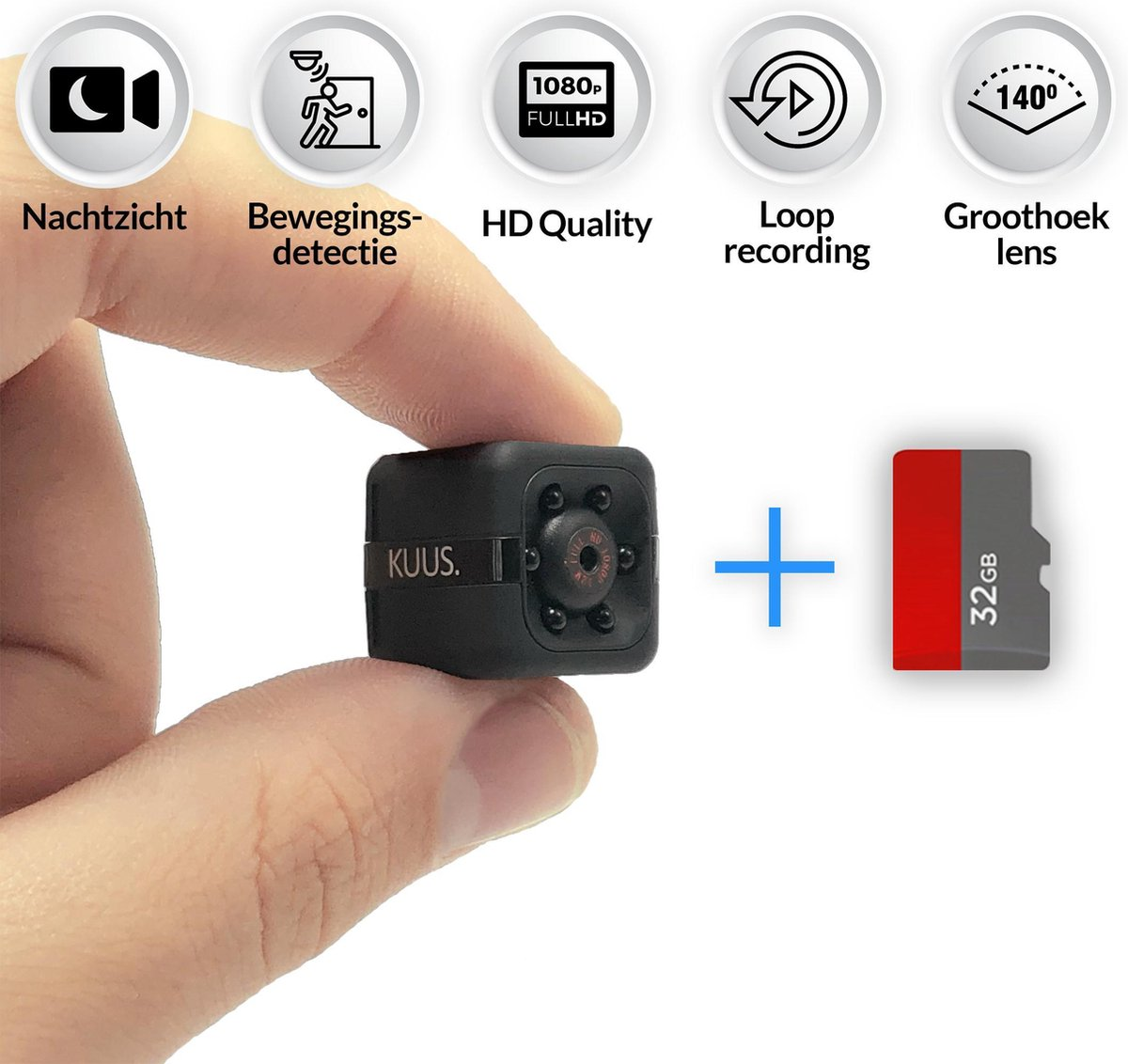 KUUS. Mini verborgen spy camera, beveiligingscamera.   Met 32 GB geheugenkaart   FULL HD 1080P
