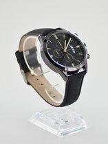Horloge mannen masculino  zwart met zwarte wijzerplaat goud kleurige inleg + extra batterij