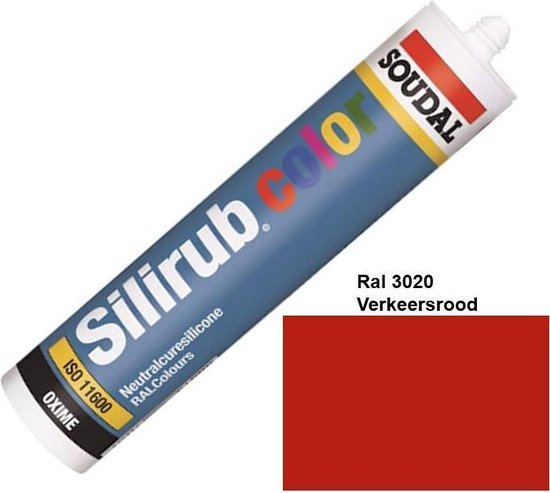 Soudal Silirub Color kit - siliconekit – montagekit – kit - RAL 3020 - Verkeersrood – 114294