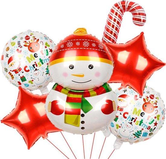 """Ballonnen Set Kerst """"Sneeuwpop Wit"""" 6 Delig"""