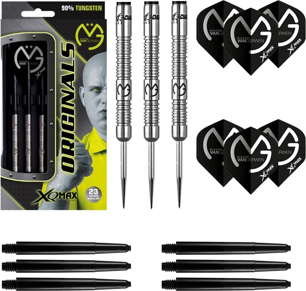 XQ-Max - Michael van Gerwen Originals 90% Tungsten - 21 gram - dartpijlen - plus 2 sets darts shafts en 2 sets darts flights