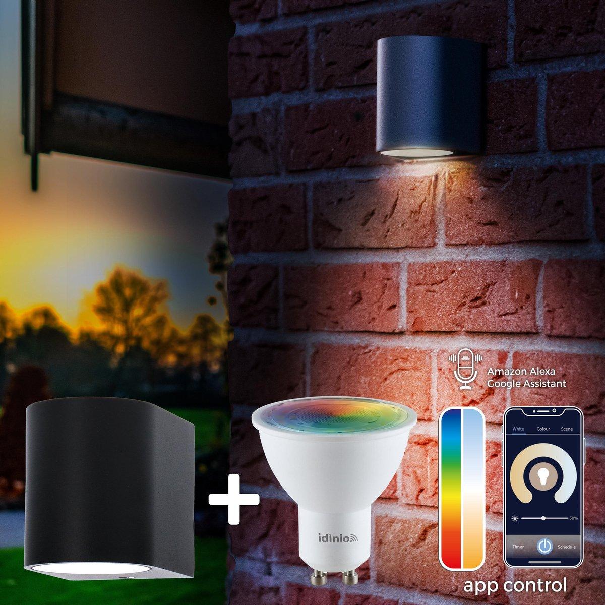 Proventa Slimme buitenlamp - Wandlamp Model J - White & Color - 1 x LED Muurlamp