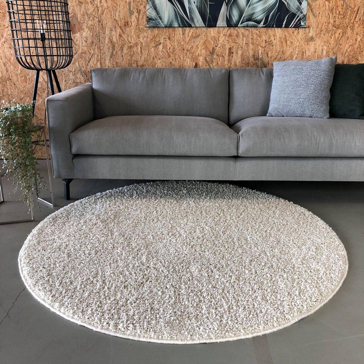 Hoogpolig Rond Vloerkleed Wit - Shaggy Collection - 160 cm (M) - Polypropyleen - 160 Ø - (M) - Interieur 05
