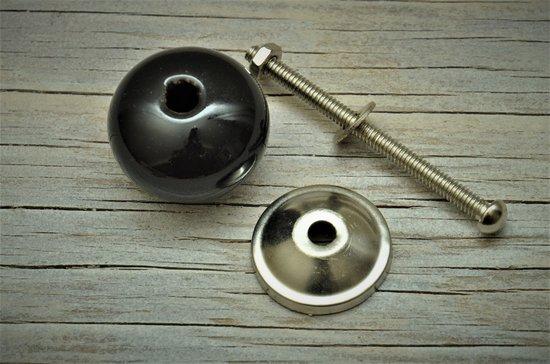 Harvey's Home, kastknop, rond zwart, doorsnee 3 cm, per 2 verpakt.