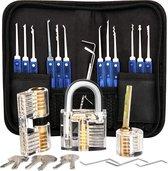 Lockpick Set Premium met 3 sloten - Lockpicking Voor Beginners En Gevorderden - Oefenslot  - 2021 Versie + Gratis Handleidingboek - Sloten - Slot
