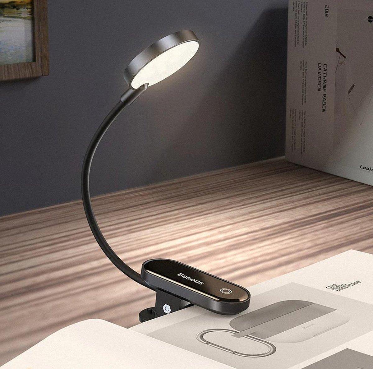WiseGoods LED Leeslamp met Klem - 400K Warm Wit Licht - USB Oplaadbaar - Boekenlamp - 24-uur Batterij - 3 Lichtsterktes