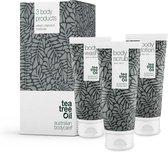 Australian Bodycare Body Treatment - 3 producten tegen puistjes, een onzuivere huid en mee–eters op de rug en billen gebaseerd op Tea Tree Olie - Bevat douchegel en peeling om je huid te reinigen en bodylotion om je huid te hydrateren en verzorgen