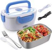 Lunchbox - Elektrische Lunchbox voor werk en auto 24v -230v  - Lunch trommel - Thuis- Kantoor - Werk- Onderweg- Kleur Grijs