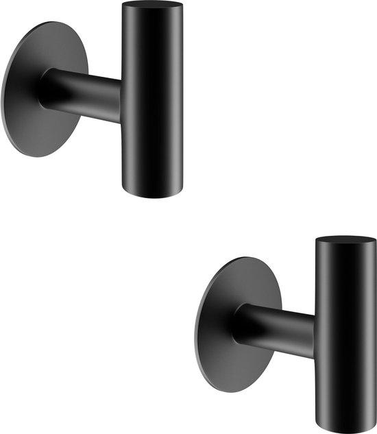 Zelfklevende Handdoekhaakjes - 2 Stuks - Badkamer-, kapstok-, jas- en wandhaak - Handdoekhouder - Handdoeklusjes - RVS - Zwart