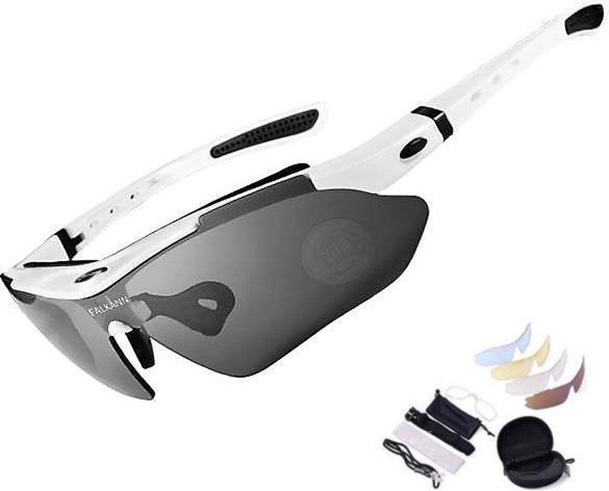 Falkann Basics Fietsbril / Sportbril Set Wit 5 Glazen inc. Gepolariseerde