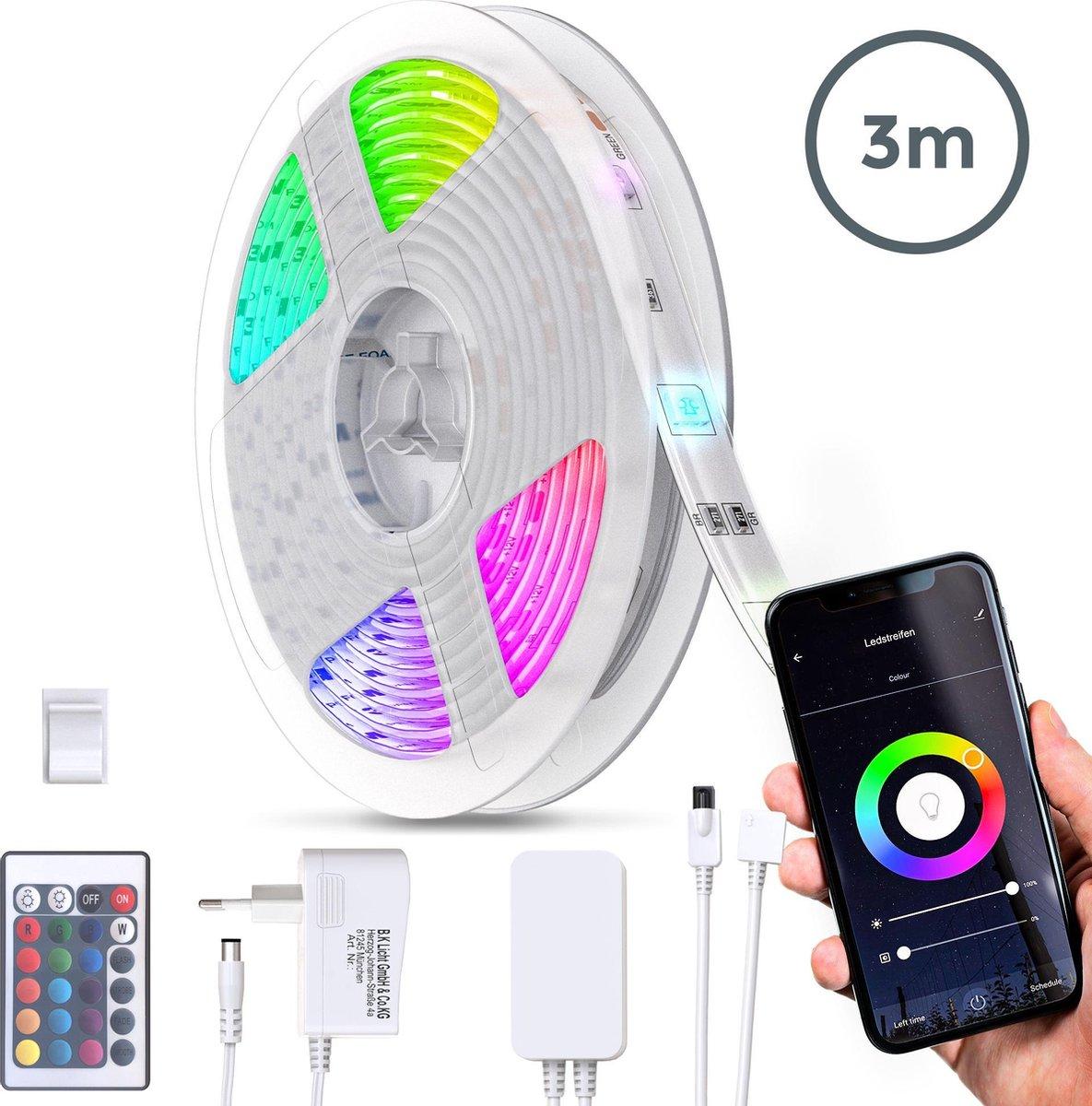 B.K.Licht - 3 meter Smart LED Strip - WiFi - RGB 16 kleuren lichtstrip - dimbaar - met afstandsbediening en App - siliconencoating - zelfklevend