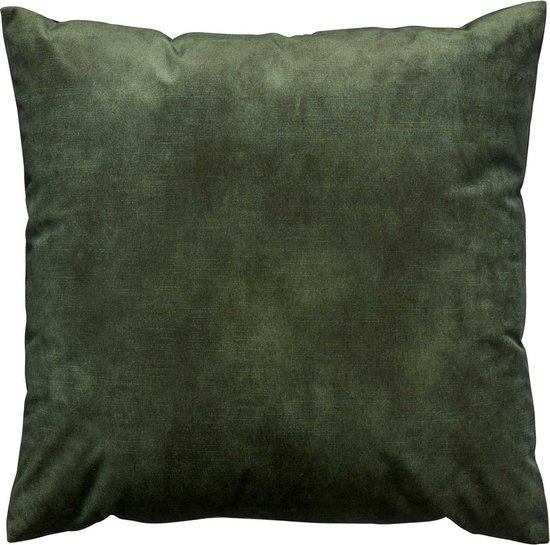 Oneiro's Luxe Velvet Sierkussen NINA Donker Groen - 45 x 45 cm - sierkussens - Nylon - polyester - interieur - kussens woonkamer - kussens - woonaccessoires - sierkussens groen