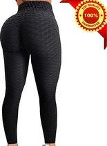 Sportlegging Dames High Waist - Anti Cellulite / Cellulitis - Scrunch Butt - Sportbroek - Sport Legging Voor Fitness / Yoga / Vrije Tijd - Comfortabel - XL - Zwart