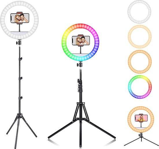 PIXMY ® - Ringlamp 10 inch – 16+ Kleurstanden - Ringlamp met statief – TikTok Lamp - RL10B55RGB