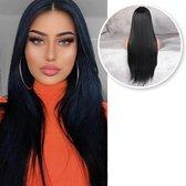 Zwarte Pruik Front Lace Wig - Steil haar - Verstelbaar - Pruiken Dames - Zwart - 75 cm