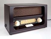 Westfalia Nostalgische radio met echte houten kast en oranje knoppen