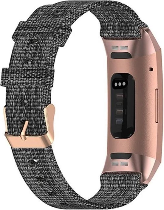 Luxe Nylon Armband Voor Fitbit Charge 3/4 Horloge Bandje - Sportband Armband Polsband Strap - Horloge Band - Watchband - Vervang Horlogeband - Donkergrijs