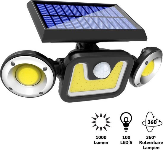 Buitenlamp met bewegingssensor – Buitenverlichting Zonne Energie – Sensor – Solar – Dag Nacht Sensor – 100 LEDS – Zwart – Zeer veel licht - ElectroGoods