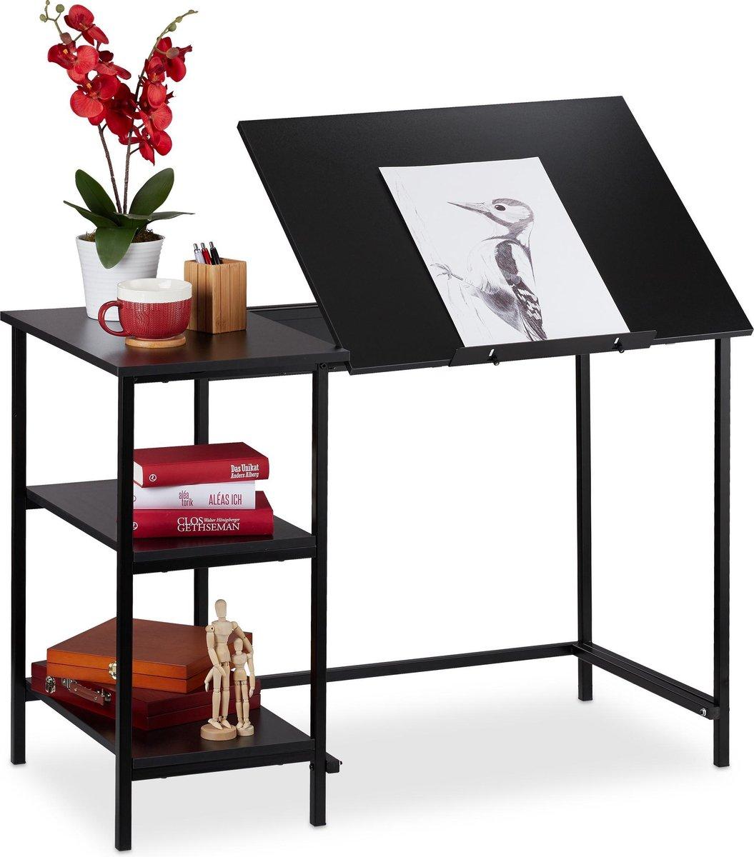 relaxdays bureau kantelbaar - tekentafel - computertafel - laptoptafel - 3 vakken Zwart / zwart