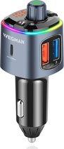 4. Wegman Bluetooth FM Transmitter - Carkit - Autolader USB C - Snellader - Handsfree Bellen - Autoradio - Auto Accessoires