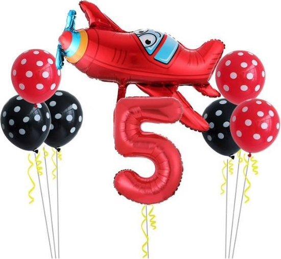 8 delig Ballonpakket met groot vliegtuig en cijfer 5