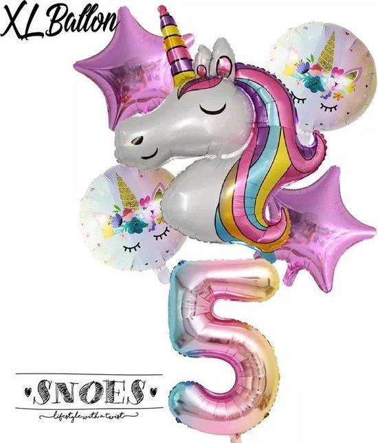 * Snoes * Unicorn * Eenhoorn * Set van 6 Ballonnen XL * Unicorn Nummer 5 * Vijfde verjaardag * Hoera 5 Jaar * Birthday