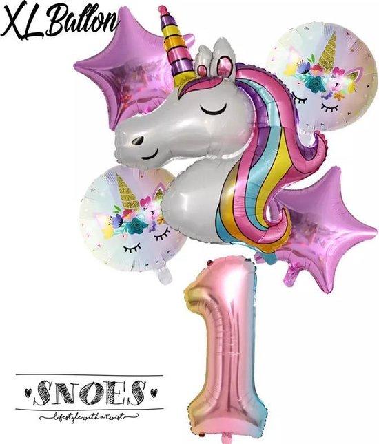 * Snoes * Unicorn * Eenhoorn * Set van 6 Ballonnen XL * Unicorn Nummer 1 * Eerste verjaardag * Hoera 1 Jaar * Birthday