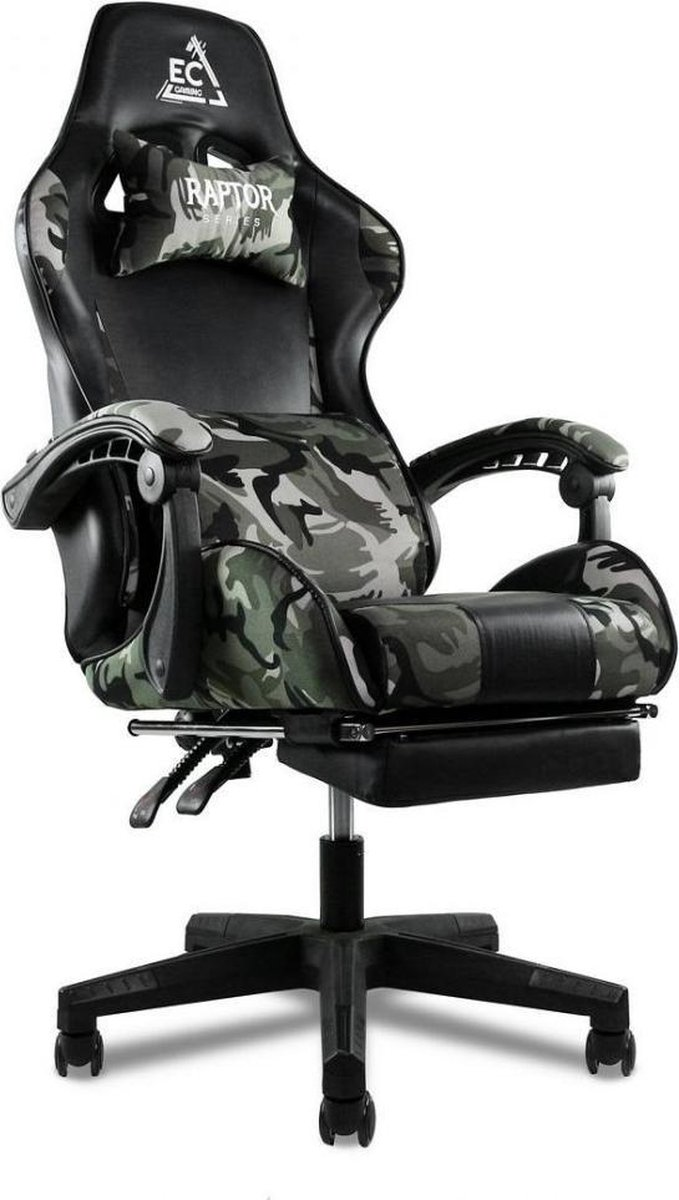 Game Stoel Army Special Edition - Gaming Chair - Camouflage - Met voetsteun -  2 Extra Kussens - Bur