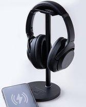 Universele 2-in-1 Headset Stand - Qi-technologie - Draadloos Opladen voor Smartphones - Anti-slip - Koptelefoon Houder - Headphone Standaard